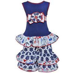 AnnLoren Baby Girls 12-18 mo Anchors Away Nautical Tunic & Capri Spring Outfit, Girl's, Size: 12-18 Months, Blue