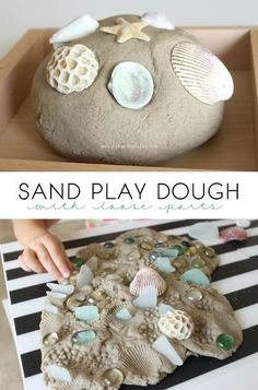 Play Dough With Loose Parts Create your own beach and enjoy how great this dough feels squished between your fingers.Create your own beach and enjoy how great this dough feels squished between your fingers. Sensory Activities, Summer Activities, Preschool Activities, Sensory Play, Sensory Bins, Sensory Rooms, Motor Activities, Family Activities, Preschool Cooking