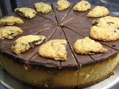 Amazing vanilla cheesecake covered in chocolate and topped with choc chip cookies. All vegan!