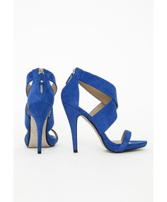 Crossover Strap Heeled Sandals Cobalt Blue - Shoes - Missguided