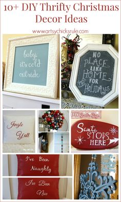 10+ DIY Thrifty Christmas Holiday Decor Ideas - #thrifty #holidaydecor #Christmas #chalkpaint #diy