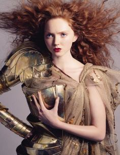 Lily Cole, Warrior Princess Extraordinaire.  She has a unique look, moreso than any other model I know today