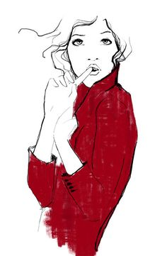Fashion illustration - smart red coat fashion sketch // Garance Dore