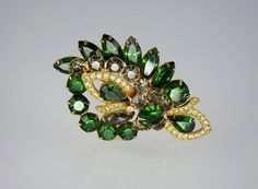 Eisenberg Rhinestone Brooch Emerald Green Vintage by STLvintage rhinestone  #jewelry  #pin