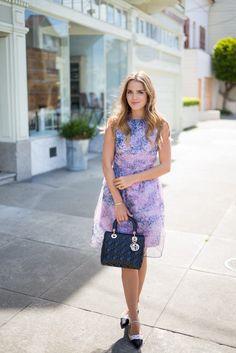 Kate Spade new york coat, Carven Dress, Miu Miu Flats, Dior Bag, BaubleBar Bangle