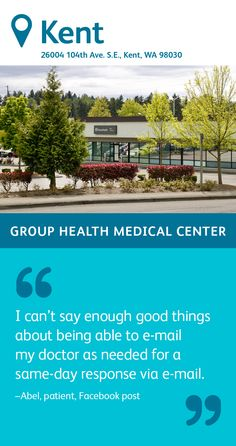 The Group Health Kent Medical Center specializes in primary care, featuring family medicine physicians. You'll also find a pharmacy, a lab, an injection room, and radiology on site as well as social work services. Group Health, Primary Care, Radiology, Medical Center, Social Work, Pharmacy, No Response, Lab, Medicine