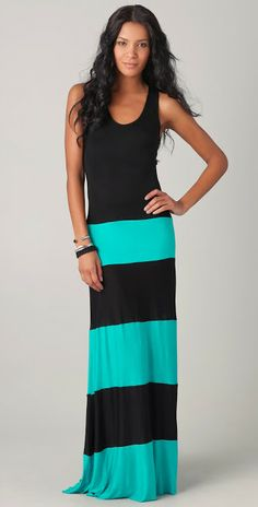 Black and blue mixing sleeveless long dress for girls | Fashion and styles