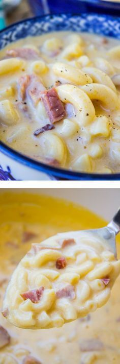 Ham Mac and Cheese Soup from The Food Charlatan ∕∕ Easiest, most comforting soup ever! Ham Mac and Cheese Soup from The Food Charlatan ∕∕ Easiest, most comforting soup ever! Mac And Cheese Soup Recipe, Ham Mac And Cheese, Think Food, Soup And Sandwich, Soups And Stews, Cooking Recipes, Easy Soup Recipes, Dinner Recipes, Dessert Recipes