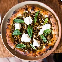 Lamb 'Pizza': Cheemoula, pine nuts, yogurt, mint /// gave kepos & co a second shot since they started 'a la carte' and I'm glad I did !  Food was delish & definitely has my recommendation now