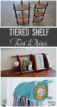 Tiered Shelf: Two Ways: A garage sale item finished two ways. This three tiered corner shelf gets some fresh chalkpaint and finishes to be used in a multitude of ways!