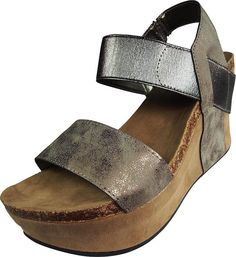 Pierre Dumas Women's Hester-1 Pewter-Steel Wedge Sandal (9 M)