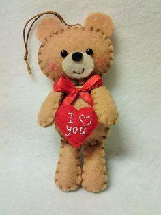 Felt Valentine Teddy Plush Ornament