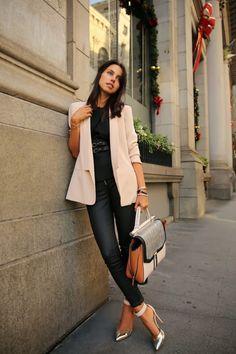 black skinny jeans & peplum top, blush-colored boyfriend blazer, metallic ankle strap heels, color-block tote