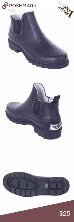 """Women's Black Ankle Rubber Rain Boots 5"""" RB-6103 Enjoy Rainy Weather in Stylish Rain Boots! 100% Rubber, Full Cotton Lining. Whatever you Call Them - Wellies, Galoshes, Rain Boots or Sluggers, your Feet are Sure to Stay Dry While Exploring Puddles or Gardening! Run Half a Size Large to Accommodate a Thick Sock. Not Made for Wide Calves Height 14"""", calf circumference Approx. 15'"""". Forever Young Shoes Winter & Rain Boots"""
