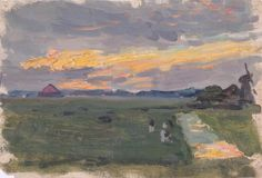 The Athenaeum - Sketch of Landscape at Sunset with Windmill (Sir George Clausen, R.A., R.W.S., R.I. - )