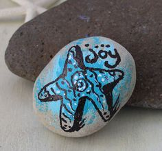 beach rock, beach painted stone, hand-painted, Beach Blessings, starfish, joy on Etsy, $8.00