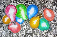The electrician at school has an amazing colored lightbulb collection hanging on the walls of his workshop. I've been eyeing them for a lon. Class Art Projects, Middle School Art Projects, Art School, Design Projects, 8th Grade Art, Eighth Grade, Art Curriculum, Art Programs, Teaching Art