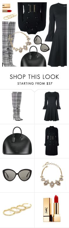 """""""Outfit of the Day"""" by dressedbyrose ❤ liked on Polyvore featuring Off-White, Kate Spade, Calvin Klein 205W39NYC, Burberry, Linda Farrow, Fallon, Yves Saint Laurent, ootd and polyvoreeditorial"""