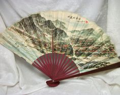 Japanese Paper Folding Fan with Map - Antique Vintage Souvenir from Japan