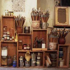 art supply storage #paintbrush #artist #studio