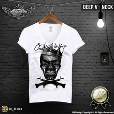 Men's Skull T-shirt One Life To Live Black Crown Machine Gun Top RB Design MD458