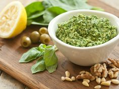 This pesto features spinach in addition to the traditional basil and whole olives instead of olive oil. Enjoy it as a dip or spread or as a topping for pasta, rice or quinoa.
