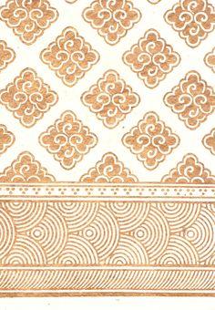 Another wallpaper option (handblocked Lotka paper, inspired by Tibetan motifs - made + designed in Bhaktapur Nepal)
