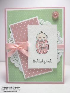 More details: http://www.stampwithsandy.com/2014/07/tickled-pink-baby-sts24-tcc13.html  Stamp Sets: Bundled Baby Card Stock: Whisper White, Blushing Bride Designer Series Paper: Subtles Stack, All Abloom Ink Pads: Black Stazon, Blushing Bride, Soft Suede, Soft Sky, Blush Blossom Tools: Aqua Painter Accessories: Watercolor Paper, Tea Lace Paper Doilies, Whisper White Organzea Ribbon, Blushing Bride 1/4