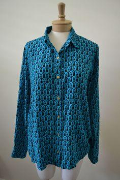 C Wonder Blue & Black Silk Button Down Shirt Blouse XL #CWonder #ButtonDownShirt #Career