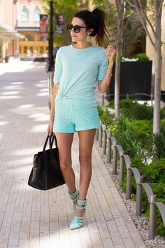 CLOTHES: Top (Old similar Mint Top) / Mindy Mae Shorts c/o / Mint Heels  ACCESSORIES: Kendra Scott Earrings c/o / Karen Walker Sunglasses / ILY Bracelet/ Celine Handbag