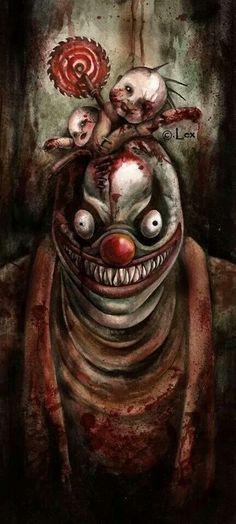 Creepy clown by Hellter-Skelter Gruseliger Clown, Creepy Clown, Creepy Art, Weird Art, The Crow, Creepy Horror, Horror Art, Send In The Clowns, Pierrot