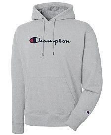 Champion Men's Script Logo Powerblend Hoodie - Team Red S Grey Champion Hoodie, Champion Sweatshirt, Champion Wear, Hoodie Sweatshirts, Stylish Hoodies, Nike Hoodies For Men, Champion Clothing, Vsco, Script Logo