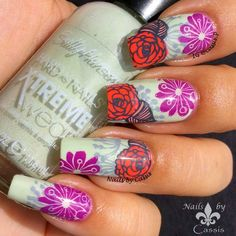 Nails by Cassis: Retro Spring Mani Using DRK XL Designer 1 #nails #nailart #nailstamping #drknails