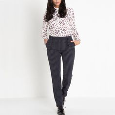 La Redoute Womens Cara Cara Striped Trousers With Darts
