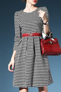 3/4 Sleeve Plaid Wool Dress With Belt