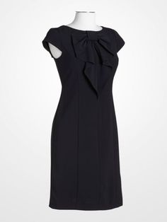 84605e2a6b1e  navy  blue  bow  sheath  dress  tailored  chic  weartowork  classic. K G  Fashion