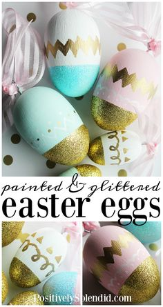 A tutorial for how to make DIY Easter eggs with wooden eggs, paint and glitter. These painted and glittered wooden Easter eggs can be used year after year!