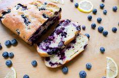 blueberry lemon yogurt loaf - dessert on the healthiER side...182 cals per slice, 197 with glaze