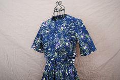 vintage 50s Dress  Midnight Blue Floral Dress Sz S M by jessamity, $53.00