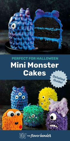 These fun, colorful and eerily adorable Mini Monster Cakes (Halloween Cakes) are so easy to make and super fun to decorate. The cake itself is incredibly fudgy, moist, dense and delicious. These mini monster cakes are perfect for a kids' Halloween party! Halloween Cakes, Halloween Treats, Halloween Party, Halloween Foods, Cake Decorating For Kids, Holiday Decorating, Decorating Ideas, Mini Cakes, Cupcake Cakes