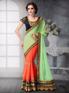 #Designer Embroidered #Mint and #Orange #Saree Featuring georgette pallu with georgette skirt and dhupion silk blouse, contrasting colours with smartly placed buta's in the skirt, the blouse has a very classy cut at the back.
