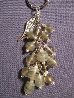 Smoky Glass Bead Purse Charm / Key Chain by FoxyFundanglesByCori, $10.00
