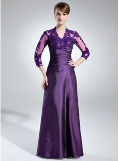 $175.99 - A-Line/Princess V-neck Floor-Length Taffeta Lace Mother of the Bride Dress With Ruffle Beading  http://www.dressfirst.com/A-Line-Princess-V-Neck-Floor-Length-Taffeta-Lace-Mother-Of-The-Bride-Dress-With-Ruffle-Beading-008005866-g5866