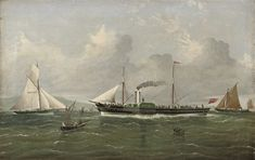 The pioneering Thames paddle-steamer Margery in the Thames estuary, her decks crowded with passengers by J. L. Tudgay