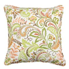 Linen-blend pillow with multicolor floral motif.    Product: PillowConstruction Material: 55% Linen and 45% rayon cove...