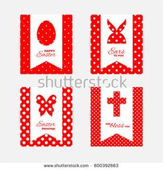 Template of Easter greeting cards. White isolated layer on top individualized with a cut out silhouettes of egg, hare,  butterfly and cross. Bottom layer contains a  white polka dots on red background