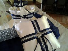 Flower Girl Basket Ring Bearer Pillow, Navy and Ivory with Bling