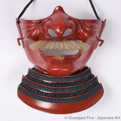 Ressei menpô Samurai armour's mask Mid Edo Period (1615-1867)  Embossed iron decorated with red lacquer (shu urushi)