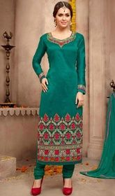Emerald Green Color Shaded Silk Churidar Kameez #indianchuridar #longtopchuridar Genuine splendor comes out from your dressing trend with this emerald green color shaded silk churidar kameez. Beautified with lace and resham work.  USD $ 109 (Around £ 75 & Euro 83)