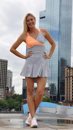 Nike Maria Sharapova Open Ace Women's Tennis Dress in grey and orange